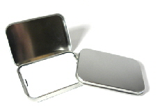silver metal tin for gift cards