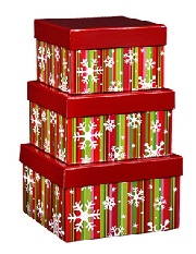 Snowflake Stripes christmas nested boxes
